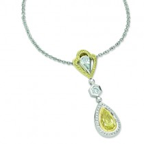 Natureal Collection Fancy Yellow Pear Diamond Pendant Set on 18K White and Yellow Gold LVN338