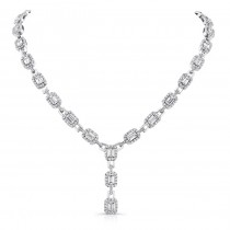 18K White Gold Emerald-Cut Diamond Pendant LVN529
