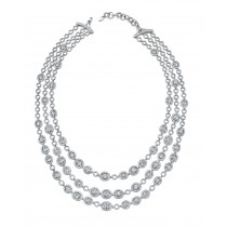Signature Collection 18K White Gold Diamond Link Necklace LVN556