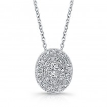 Bouquet Collection Diamond and 14K White Gold Oval Pendant LVN659