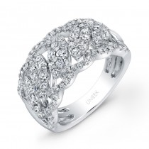 """Uneek """"Leaf Guipure"""" Diamond Band with Pave Scalloped Edges, in 14K White Gold"""