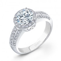 Uneek 18K White Gold Round Diamond Engagement Halo Ring LVS339