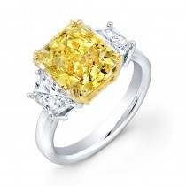 Uneek Natureal Yellow Radiant Diamond Engagement Ring LVS811