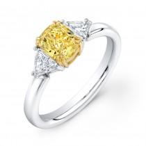 Uneek Natureal Fancy Yellow Radiant Diamond Engagement Ring LVS818