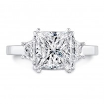Uneek Platinum Three Stone Princess Cut Diamond Engagement Ring. LVS962