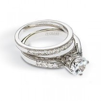 Lovely Zeghani Diamond Wedding Band and Engagement Set