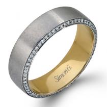14K YELLOW & WHITE GOLD, WITH WHITE DIAMONDS. MR2273 - MEN RING