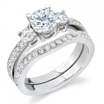 Bouquet Collection 18K White Gold Diamond Engagement Ring With Matching Band SW108
