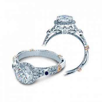 Verragio Halo Twist Engagement Ring With Sapphire Accents