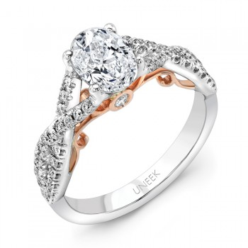 "Uneek ""Paradiso"" Oval Diamond Solitaire Engagement Ring with Pave Infinty/Crisscross Shank in 14K Wh"