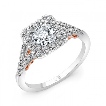 "Uneek ""Cancelli"" Princess-Cut Diamond Halo Engagement Ring with Pave Split Shank in 14K White Gold,"