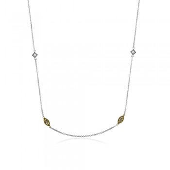 18k white and yellow gold chain .08D