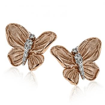 18k Gold Rose DE267-R Earring