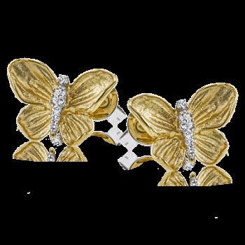 18K YELLOW GOLD, WITH WHITE DIAMONDS. DE271 - EARRING