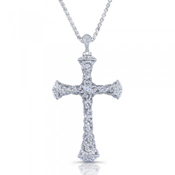 Uneek 18K Gold Round Diamond Cross Pendant LVN560