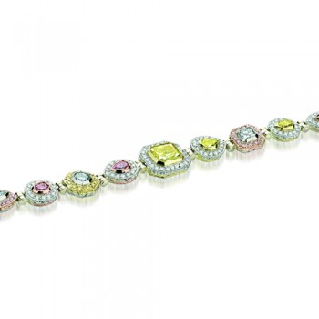 Natureal Collection Platinum/18K Rose Gold/18K Yellow Gold White Yellow Pink Diamond Bracelet LBR026