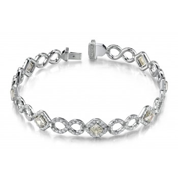 18K White Gold Round & Asscher Cut Diamond Bracelet LBR104