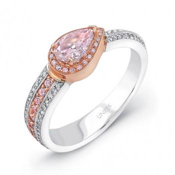 Natureal Collection Platinum & Rose Gold Pink Pear Diamond Band LVB060