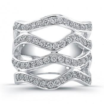 18K White Gold Diamond Wave Wedding Band LVB126
