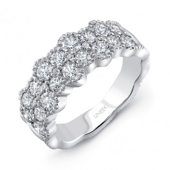 """Uneek """"Picôt"""" Diamond Band with Scalloped Edges, in 18K White Gold"""