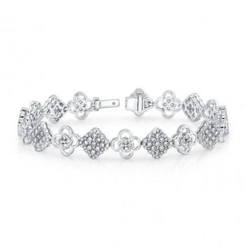 Bouquet Collection 14K White Gold Diamond & Flower Shaped Diamond Bracelet LVBR01