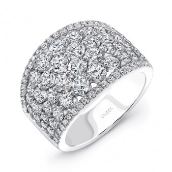 """Uneek """"Frivolite"""" Cluster Diamond Band with Pave Edges, in 14K White Gold"""
