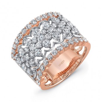 """Uneek """"Chantilly"""" Open Lace Diamond Band in 14K Two-Tone Gold"""