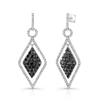 14K White Gold Black Kite Shaped Diamond Earrings LVE022BL