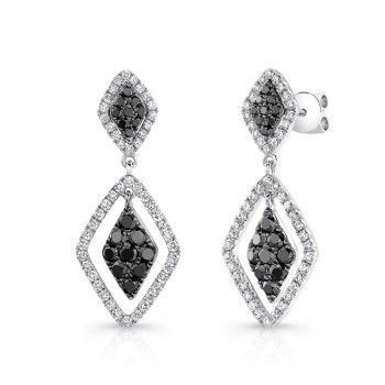 14K White Gold Black Kite Shaped Diamond Earrings LVE031BL