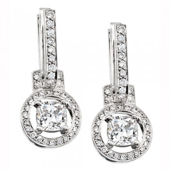 Uneek 18K White Gold Cushion Diamond Earrings LVE084