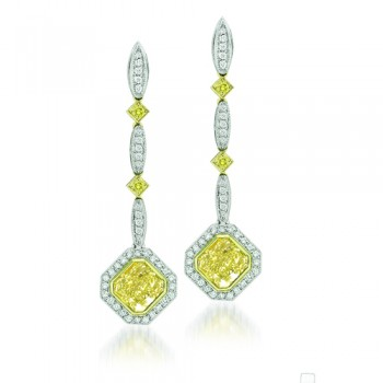 Natureal Collection Platinum Yellow Radiant Diamond Dangling Earrings LVE122
