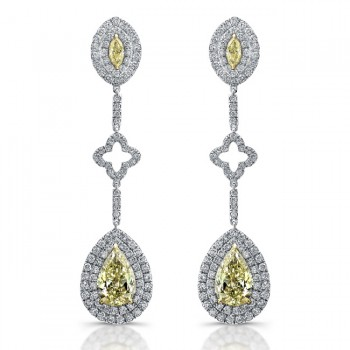 Natureal Collection 18K White and Yellow Gold Fancy Yellow Diamond Earrings LVE197