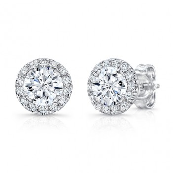 Uneek Round Diamond Halo Stud Earrings in 14K White Gold