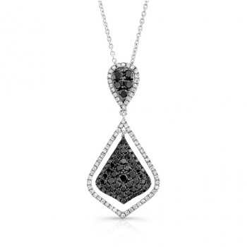14K White Gold Black Shield Shaped Diamond Pendant LVN010BL