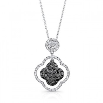 14K White Gold Black Clover Shaped Diamond Pendant LVN011BL