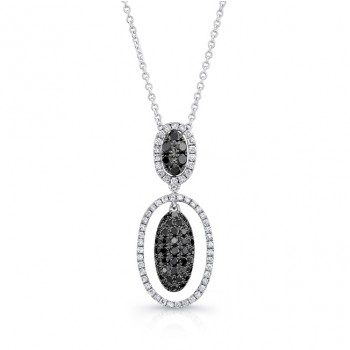 14K White Gold Black Oval Shaped Diamond Pendant LVN012BL