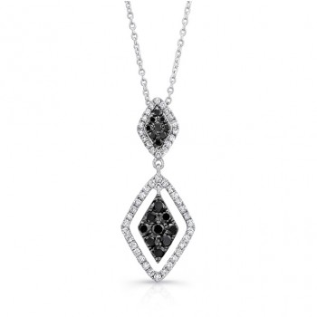 14K White Gold Black Kite Shaped Diamond Pendant LVN015BL
