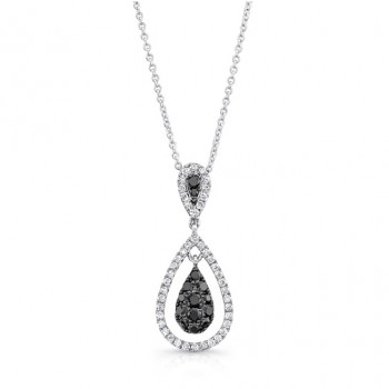 14K White Gold Black Pear Shaped Diamond Pendant LVN017BL