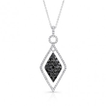 14K White Gold Black Kite Shaped Diamond Pendant LVN018BL