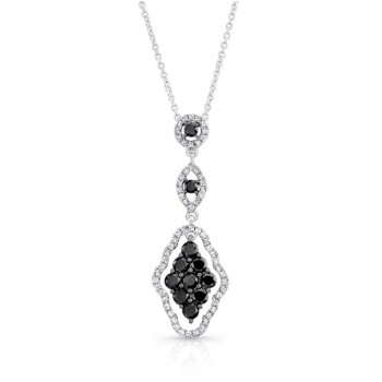 14K White Gold Black Kite Shaped Diamond Pendant LVN019BL