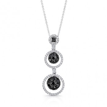 14K White Gold Black Circular Shaped Diamond Pendant LVN020BL