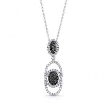 14K White Gold Black Oval Shaped Diamond Pendant LVN021BL