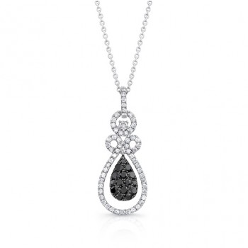 14K White Gold Black Pear Shaped Diamond Pendant LVN022BL