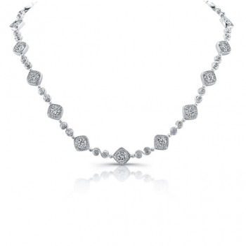 Uneek Round Diamond Necklace with Tilted Cushion Halos and Swirl-Style Links, in 18K White Gold