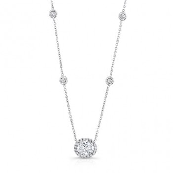 18K White Gold Oval Diamond Pendant LVN651
