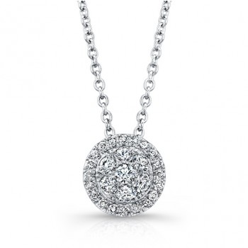 Bouquet Collection Diamond and 14K White Gold Round Cluster Pendant LVN662