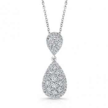 Bouquet Collection Diamond and 14K White Gold Inverted Pear Shaped Pendant LVN663