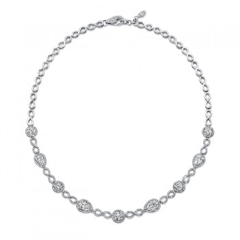Uneek Round and Pear-Shaped Diamond Necklace with Infinity-Style Pave Links, in 18K White Gold