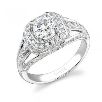 Uneek 18K White Gold Round Halo Diamond Engagement Ring LVS279