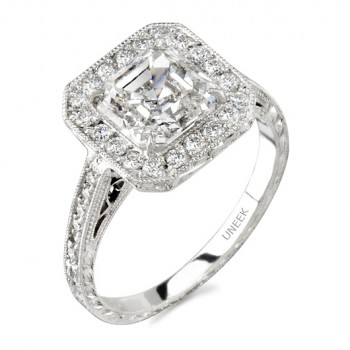 Uneek Platinum Halo Asscher Diamond Engagement Ring LVS299
